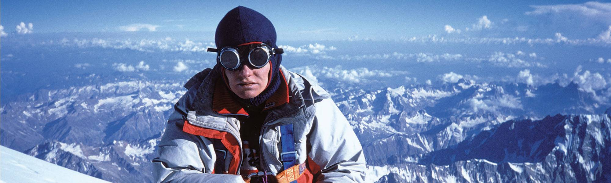 Marija Frantar on the summit of Nanga Parbat. From the book First Women Expeditions to Eight Thousand Meter Peaks (Didakta 2019).
